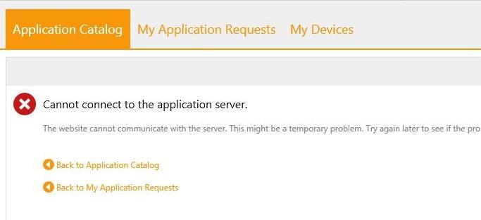 AppCatalog error